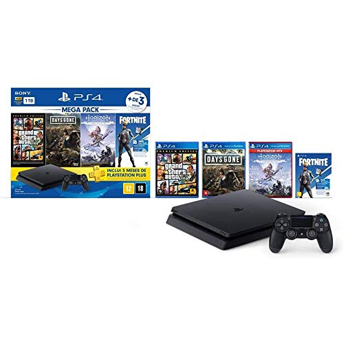 Console PlayStation 4 1TB Bundle Hits 6 - Horizon Zero Dawn Complete Edition, Days Gone, Grand Theft Auto V Premium Edition - PlayStation 4 (Versão Nacional)