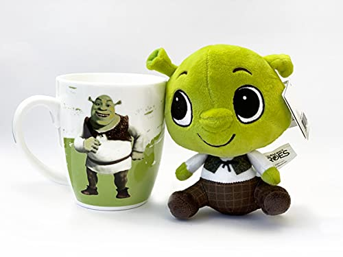 Set de regalo DreamWorks Heroes, Shrek, Kung Fu Panda, Madagascar, Home – Taza de 300 ml + peluche de peluche Little Dreamers Idea de regalo (Shrek – Oger)