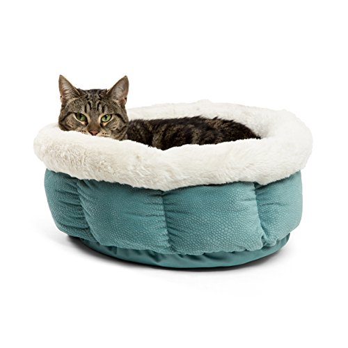 Best Friends by Sheri Small Cuddle Cup - Cozy, Comfortable Cat and Dog House Bed - High-Walls for Improved Sleep, TidePool