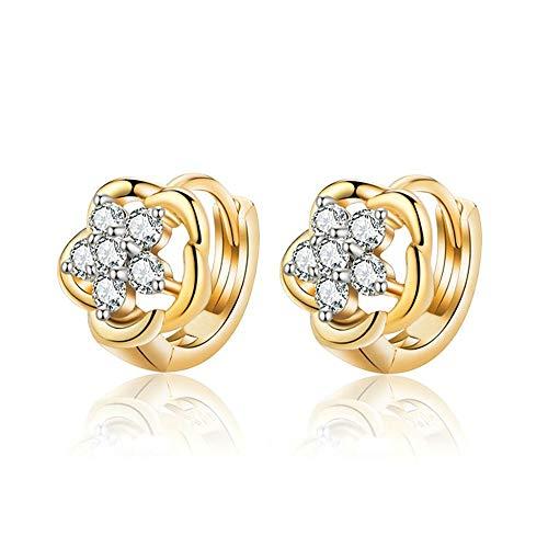 BOBIJOO Jewelry - Par de pendientes Niño Niña de Oro Chapado en Oro de la Flor pendientes de aro Pequeños diamantes de imitación