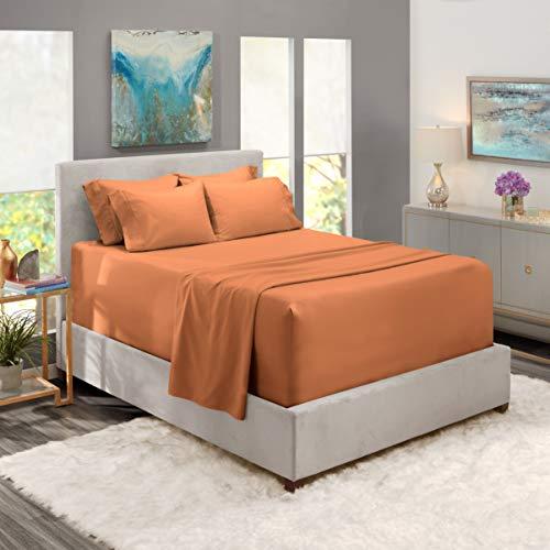Nestl Bedding Extra Deep Pocket Sheets –California King Sized Deep Bed Sheet Set – Super Deep Pocket Sheets- 72 in x 84 in Deep Pocket Fitted Sheet Set 6pc – Rust Sienna/Orange Brown.