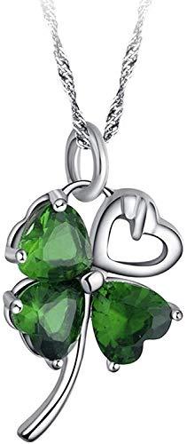Sterling Silber Grün Peridot Swarovski Kristall vier Blatt-Klee, Glück, Symbol-Anhänger Halskette für Damen