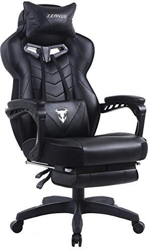 Zeanus Gaming Stuhl für Erwachsene, Computer Stuhl mit Massage, Gaming Stuhl mit Fußstütze, Ergonomisch Gaming Stuhl, Hohe Rückenlehne Racing Drehstuhl, PC Gaming Schreibtisch Stuhl (Schwarz)