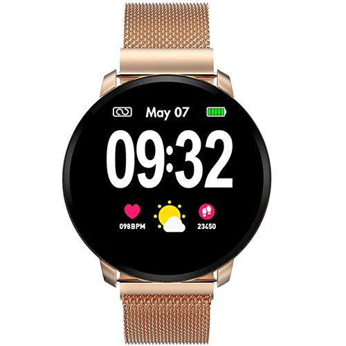 Smartwatch Fashion para Hombre Mujer Impermeable Reloj Inteligente Monitores de Actividad Fitness Tracker con Monitor de Sueño Pulsómetros Podómetro Compatible con iOS Android Huawei (Dorado)
