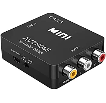 RCA to HDMI GANA 1080P Mini RCA Composite CVBS AV to HDMI Video Audio Converter Adapter Supporting PAL/NTSC with USB Charge Cable for PC Laptop Xbox PS4 PS3 TV STB VHS VCR Camera DVD