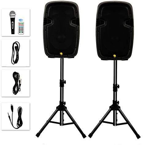 La fete Dual 2 Way 10 1600 Watt Powered PA Speaker System Portable DJ Speaker with Active Passive product image