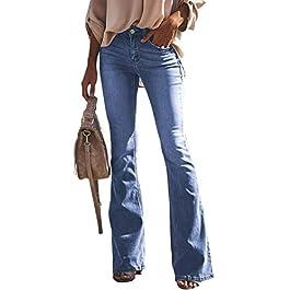 Aleumdr Donna Jeans a Zampa Pantaloni a Vita Alta Elasticizzati