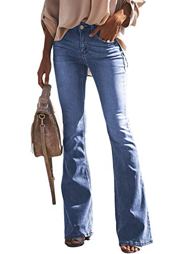 Itsmode Damen Jeanshose Weites Bein Denim Hose Destroyed Jeanshose Stretch Skinny Elegant Bootcut Schlaghose High Waist Schlagjeans, 2-himmelblau, M