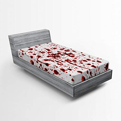 Ambesonne Horror Fitted Sheet, Splashes of Blood Grunge Style Bloodstain Horror Scary Zombie Halloween Themed Print…