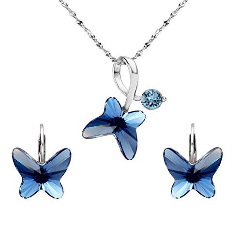 EleQueen 925Plata de Ley Mariposa Amor aro huggie Pendientes Pendientes Adornado con Cristales de...