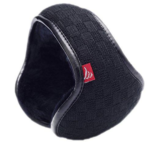 Orejeras calentitas Warm-U que caben en el bolsillo, con diseño plegable de lana a cuadros, mujer hombre, negro, talla única