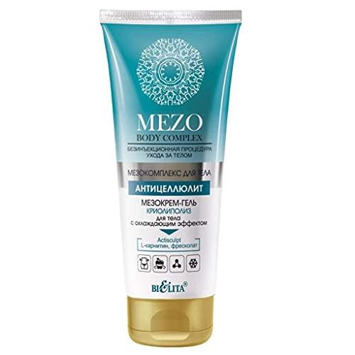 Belita MEZO Body Complex MEZO Anti-Cellulite kühlendes Creme-Gel KRYOLIPOLYSE für den Körper 200ml, mit Centella Asiatica, Koffein, L-Carnitin, Freskolat, Menthol und Actisculpt Komplex