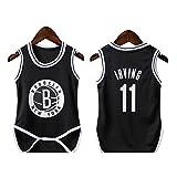 lkjhgfd Baby Strampler Bodys Von Kyrie Irving 11# Brooklyn Netze ärmellose Lose Basketball Trikots Für Jungen Mädchen 6-30 Monate,Black-9(65-75cm)