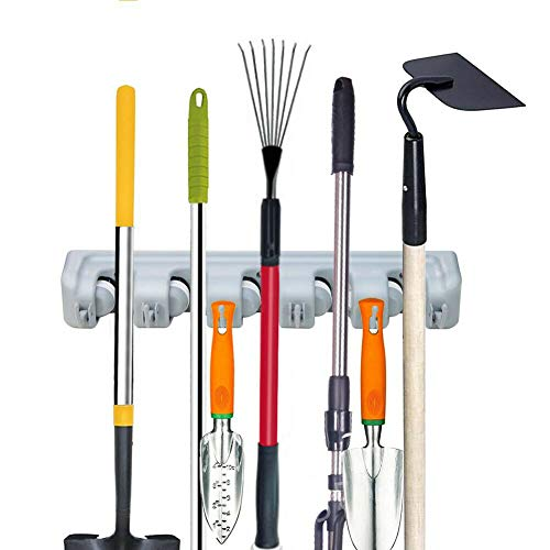 Mop and Broom Holder,Multipurpose Wall Mounted Organizer Storage Hooks with 5 Ball Slots and 6 Hooks (Gray)