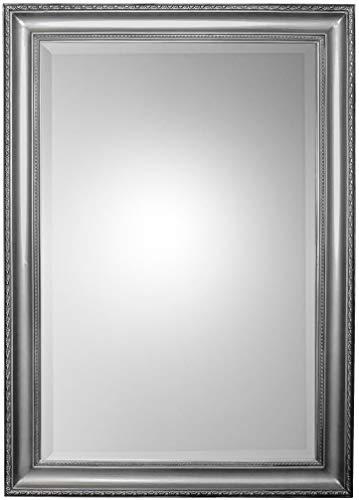 Scan-Trader Inspire Speigel Garderobenspiegel Moderner Vintage Wandspiegel Flurspiegel mit Silber Holz Dekorativer Landhaus-Stil Rahmen für Flur, Garderobe, Wohnzimmer, 104x74x3,5 cm