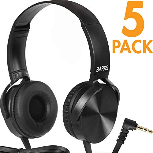 Bulk Classroom Headphones - 5 Pack - Over Ear Student Head Phones: Perfect for Kids in Classrooms, Schools, Libraries, Class Set (Great Value, Durable, Noise Reducing, Comfortable Fit, Easy to Clean)