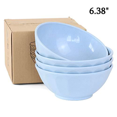 Cuencos de cereales irrompibles de Nawovao, 28 oz, de fibra de paja de trigo, juego de 4 cuencos ligeros para lavaplatos y microondas, para sopa de arroz, cuencos acanalados sin...