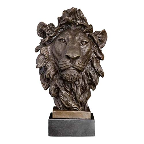 ZLBYB León Cabeza Escultura Animal Busto Estatua estatuilla Fauna Fauna Cobre Metal...