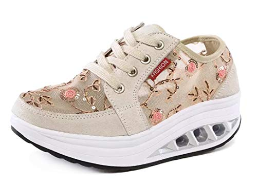 CELANDA Femmes Minceur Chaussures Mode Marche Baskets Wedges Plate-Forme Chaussures Casual Respirantes Sport Gym Fitness Sneakers B Beige Taille: 40 EU