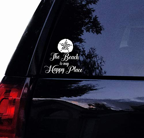 The Beach is My Happy Place Vinyl Decal Laptop Car Window Wall Decor Sticker (12', White)