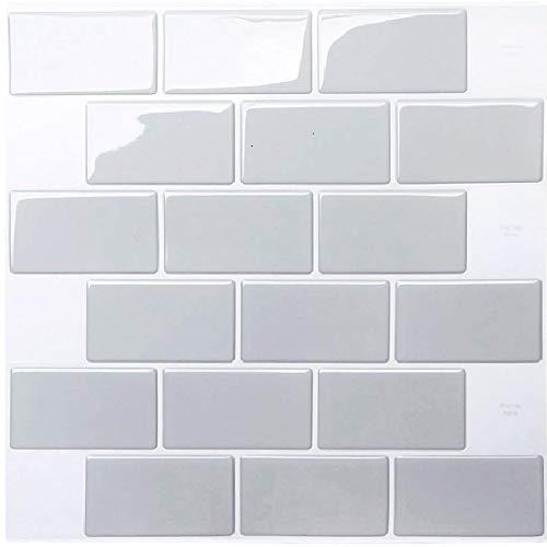 HyFanStr Vinilos Cocina azulejos Azulejos Adhesivos, Losetas vinilicas 3D Azulejos Adhesivo pared Baño, Gris Pegatinas de Azulejos Auto-Adhesivo 30.5x30.5cm 10 Piezas