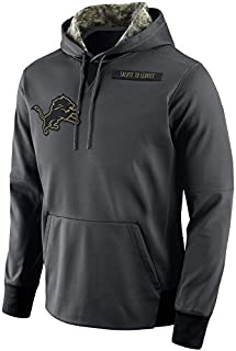 Dunbrooke Apparel Men's Detroit Lions Salute to Service Sideline Therma Pullover Hoodie