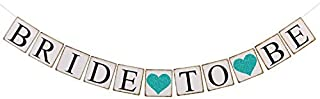 Ling's moment Bride to Be Banner with Teal Glitter Heart, Wedding Bunting Garland Sign - Engagement Photo Prop, Party Decorations for Bridal Shower, Bachelorette Party