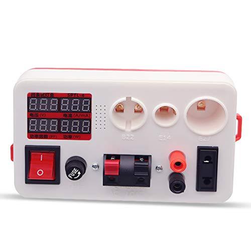 Homeriy Caja de Probador de Luz Luz Led Voltaje de Potencia Probador Rápido Rápido Caja de Probador de Luz para E27 B22 E14 Bombilla Luces de Carga de Ca