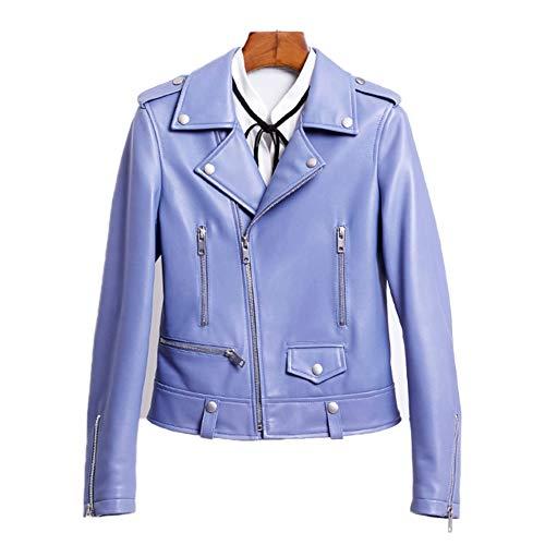 HUIGE Lederjacke für Mädchen, aus reinem Lammfell, Biker-Bomber, Damen, lange Ärmel, Revers, Reißverschluss, Lederjacke, schmal, lässig, Racer, Outwear, leichte Bekleidung, Sternenblau, S