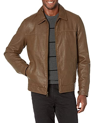 Tommy Hilfiger Men's Classic Faux Leather Jacket, earth, Large