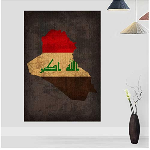 Land vlag kaarten Poster Vintage Irak land vlag kaart Canvas Print Home Decor Wall Art Decor-   40 x 60 cm geen Frame