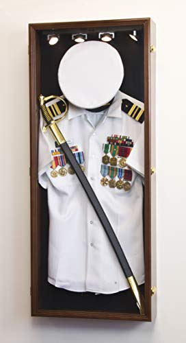 Military Shadow Box Display Case Uniform Cap Hat Sword Medals Cabinet Wall Frame - Lockable (Walnut Finish, Black Felt Background)