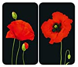 WENKO Plaque de protection en verre universel Coquelicot - set de 2, pour tous les types de cuisinières, Verre trempé, 30 x 1.8-5.5 x 52 cm, Multicolore