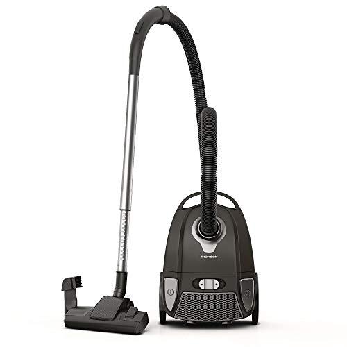 THOMSON leiser Staubsauger mit Beutel (Low Noise) - Bodenstaubsauger mit Beutel (3 Liter), Staubsauger mit Hepa Filter für Allergiker, handlich dank Tragegriff, mit Bürste und Aufsatz, Schwarz