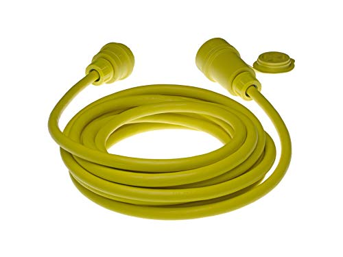Woodhead 26W47A123 Watertite Wet Location Locking Blade Cordset, 3 Wires, 2 Poles, NEMA L5-20 Configuration, 12-Gauge SOOW Cord, Yellow, 20A Current, 125V Voltage, 25ft Cord Length