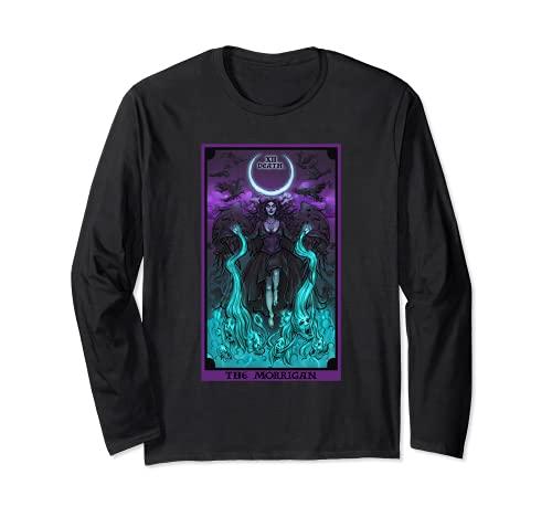 The Morrigan Death Tarot Card Gothic Pagan Witch Triple Moon Long Sleeve T-Shirt