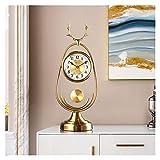 ZCZZ Reloj de Mesa, Elegante Reloj de Mesa de Metal, decoración de Sala de Estar, números arábigos, Reloj de Mesa de 20,8 Pulgadas con Pilas