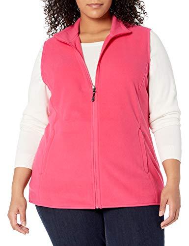 Amazon Essentials Women's Plus Size Full-Zip Polar Fleece Vest, Pink, 1X