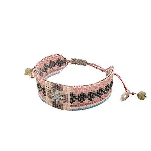 DKARY Brazalete miyuki Brazalete de cristal de colores Brazaletes ajustables Regalo ideal para mujer Brazaletes artesanales ancho S (2 cm) (FLORA 60)