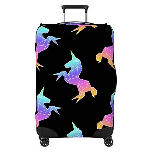 Rainbow Unicorn Design Suitcase Cover Skin Protector Black Medium 24' - 29' (Suitcase NOT Included)