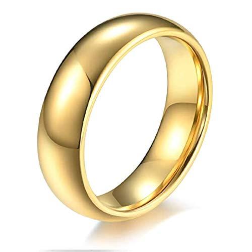 Rockyu ブランド 指輪 メンズ おしゃれ タングステン リング 4MM 18金メッキ ゴールドリング シンプル 鏡面処理 平打ち 甲丸リング 指輪物語 指輪の選んだ婚約者 ファッション アクセサリー (金色-幅4mm, 11)
