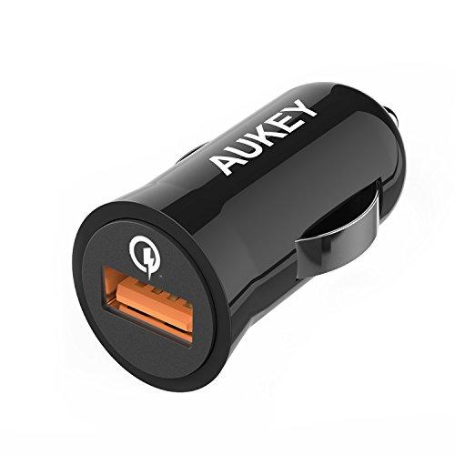 AUKEY Quick Charge 2.0 Car Charger, 18W PowerAll Charge per iPhone, iPad, HTC e altri Dispositivi USB, un 1m Micro USB Cavo da Quick Charge nella Confezione (Nero)