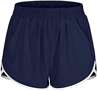 Blevonh Short Pants for Women,Hi-Waist Elastic Bands Active Sports Yoga Shorts with Liner Underwear Womens Relaxed Fit Sun Protection Working Out Short Versatile Gym Clothes Navy Blue XL