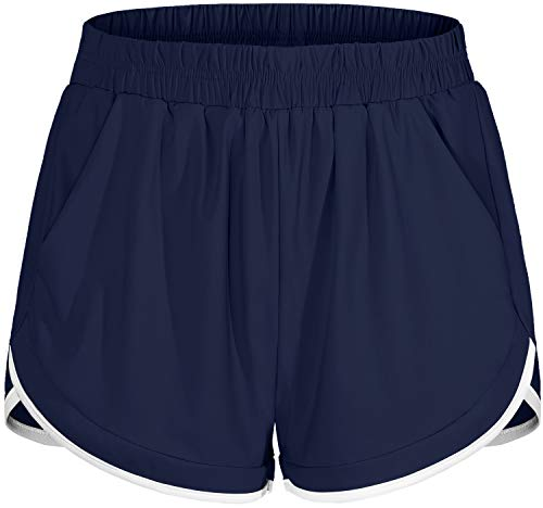 Blevonh Gym Shorts for Women,Hi-Waist Elastic Bands Active Sports Yoga Shorts with Liner Underwear Womens Relaxed Fit Sun Protection Working Out Short Versatile Clothes Navy Blue XL