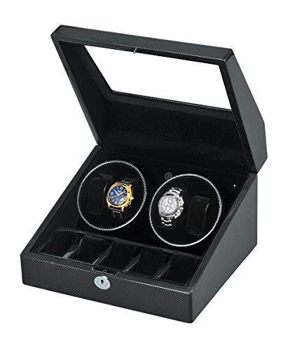 WXDP Bobinador automático del reloj, caja de madera doble con la cubierta, con motor silencioso, 4 modos de rotación y 12 velocidades, se ajusta a señora y hombre es