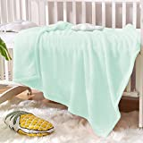Exclusivo Mezcla Soft Plush Fuzzy Fleece Baby Blanket Throw Blanket for Boys, Girls, Toddler and Kids Nap Blankets for Crib Bedding, Nursery, and Security (40x50 inches, Mint Green)