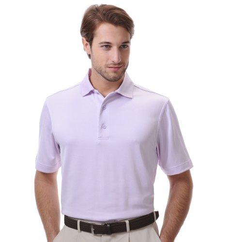 Monterey Club Men's Subtle Jacquard Texture Polo Shirt #1487 (Light Lavender, Large)