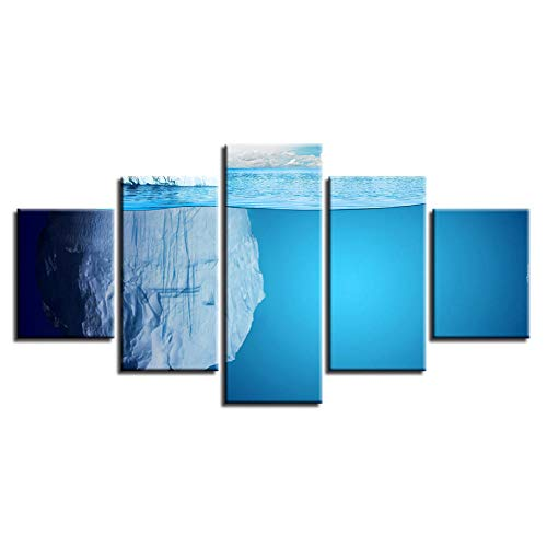 Hd Painting Art Modern Printing Decoration 5 Pieces Ice Mountain Modular Canvas Posters for Living Room Wall Pictures-Without Frame