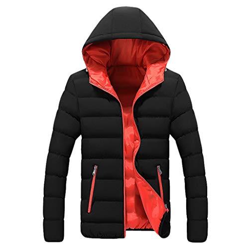 FRAUIT Winterjacke Herren Light Baumwolle Jacke Zipper Light Daunenjacke Hoodie Kapuzenjacke Herbst Winter Männer Stehkragen Jacke Farbe Futter Mantel