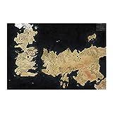 Póster de la televisión del Mapa del Mundo de Westeros y Essos de Juego de Tronos en lienzo para decoración de dormitorio, paisaje, oficina, decoración de habitación, regalo de 30 x 45 cm